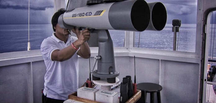 Binoculars at sea