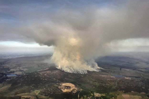 Moorland on fire in UK