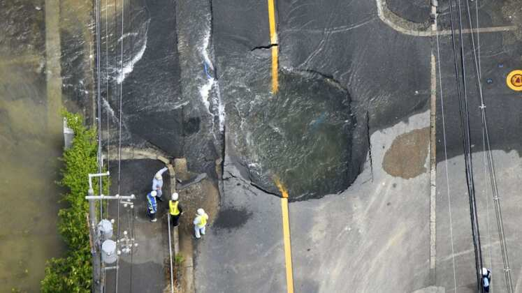 earthquake damage road
