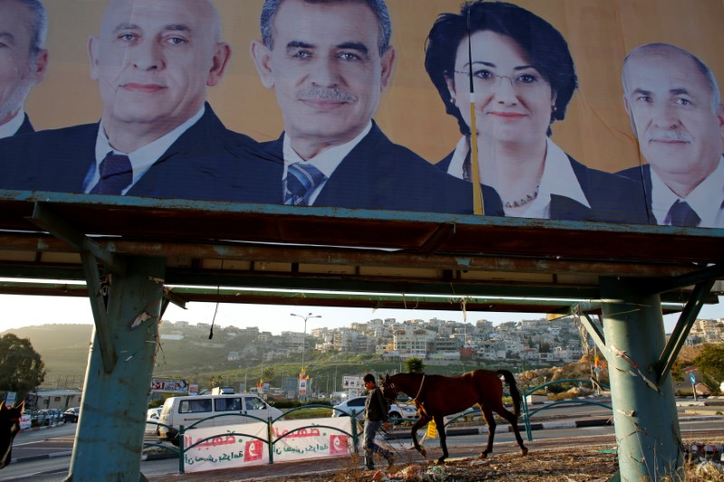 FILE PHOTO: A man walks with a horse near a campaign poster for the National Democratic Assembly party in Umm el-Fahm