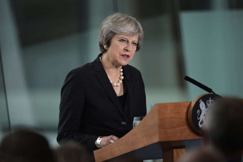 Britain's Prime Minister Theresa May delivers a speech at the Waterfront Hall in Belfast, Northern Ireland