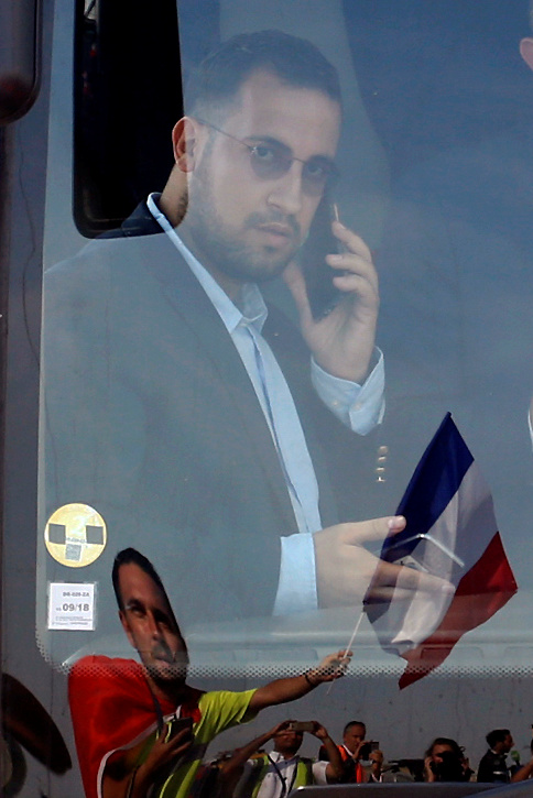 FILE PHOTO: Soccer Football - World Cup - Alexandre Benalla, French presidential aide for security, rides on the team bus - Charles de Gaulle Airport, Roissy