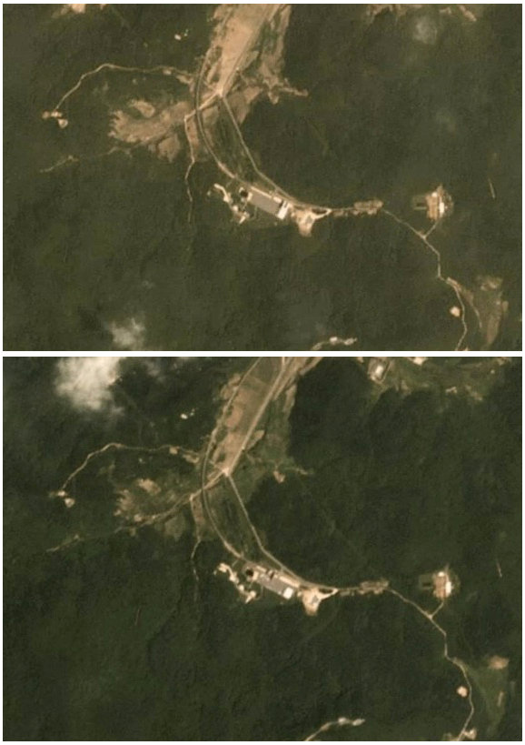 A combination of two satellite images show activity at the Sohae rocket launch site