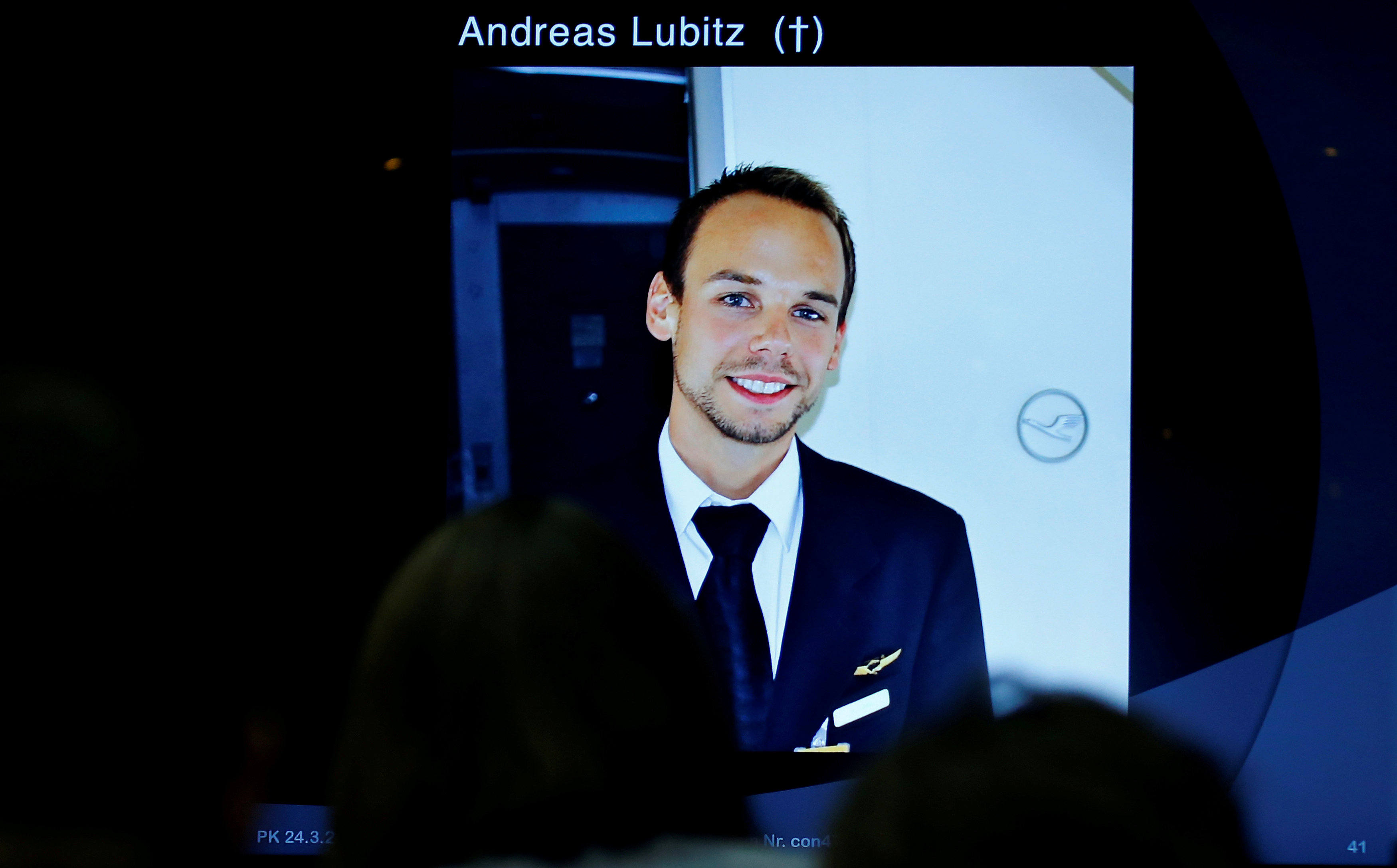 FILE PHOTO: A screen shows a picture of Andreas Lubitz during news conference of Guenter Lubitz in Berlin