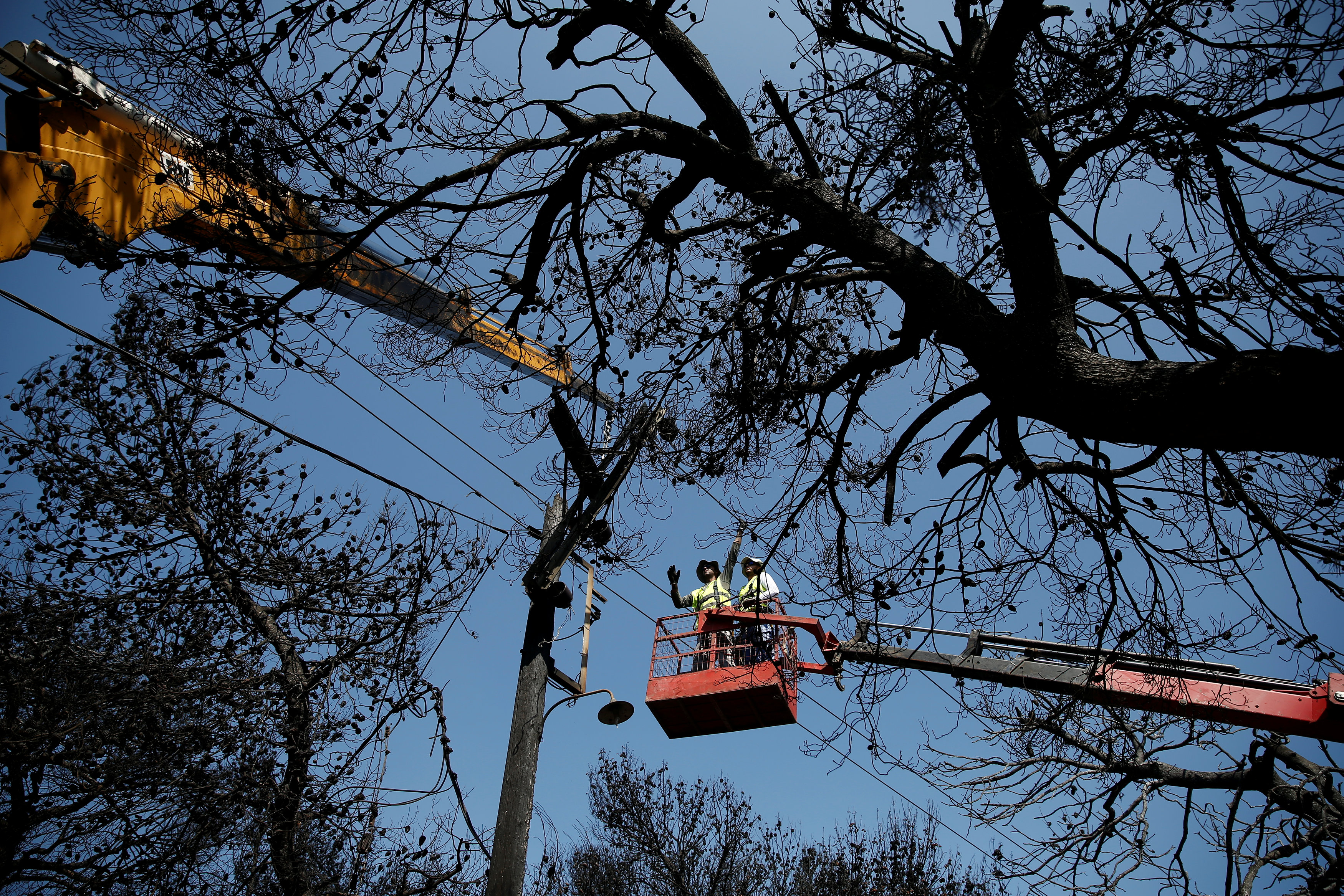 Workers of the Public Power Corporation (PPC) replace electricity wires, following a wildfire in the village of Mati, near Athens