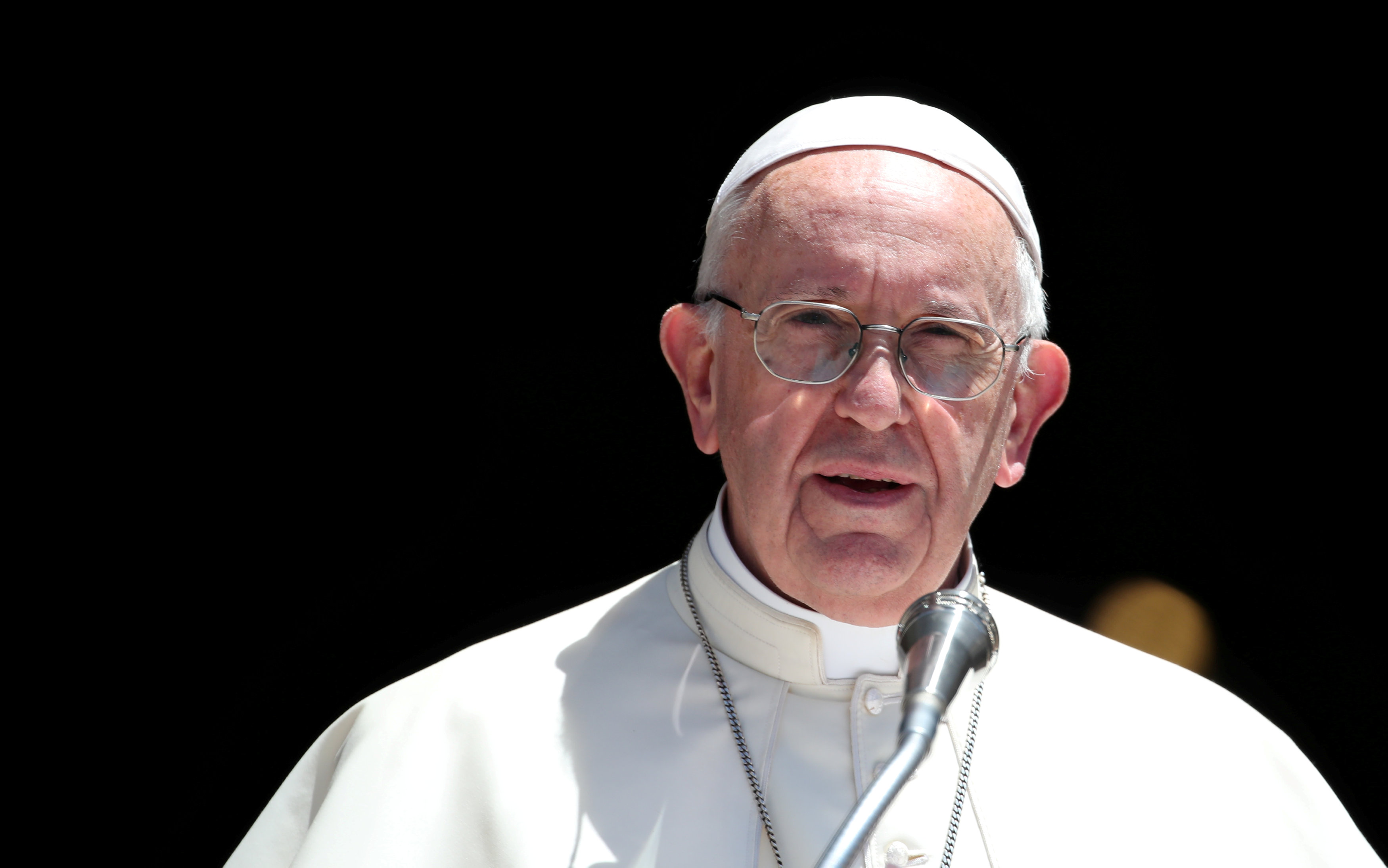FILE PHOTO: Pope Francis speaks at the St. Nicholas Basilica in Bari, southern Italy