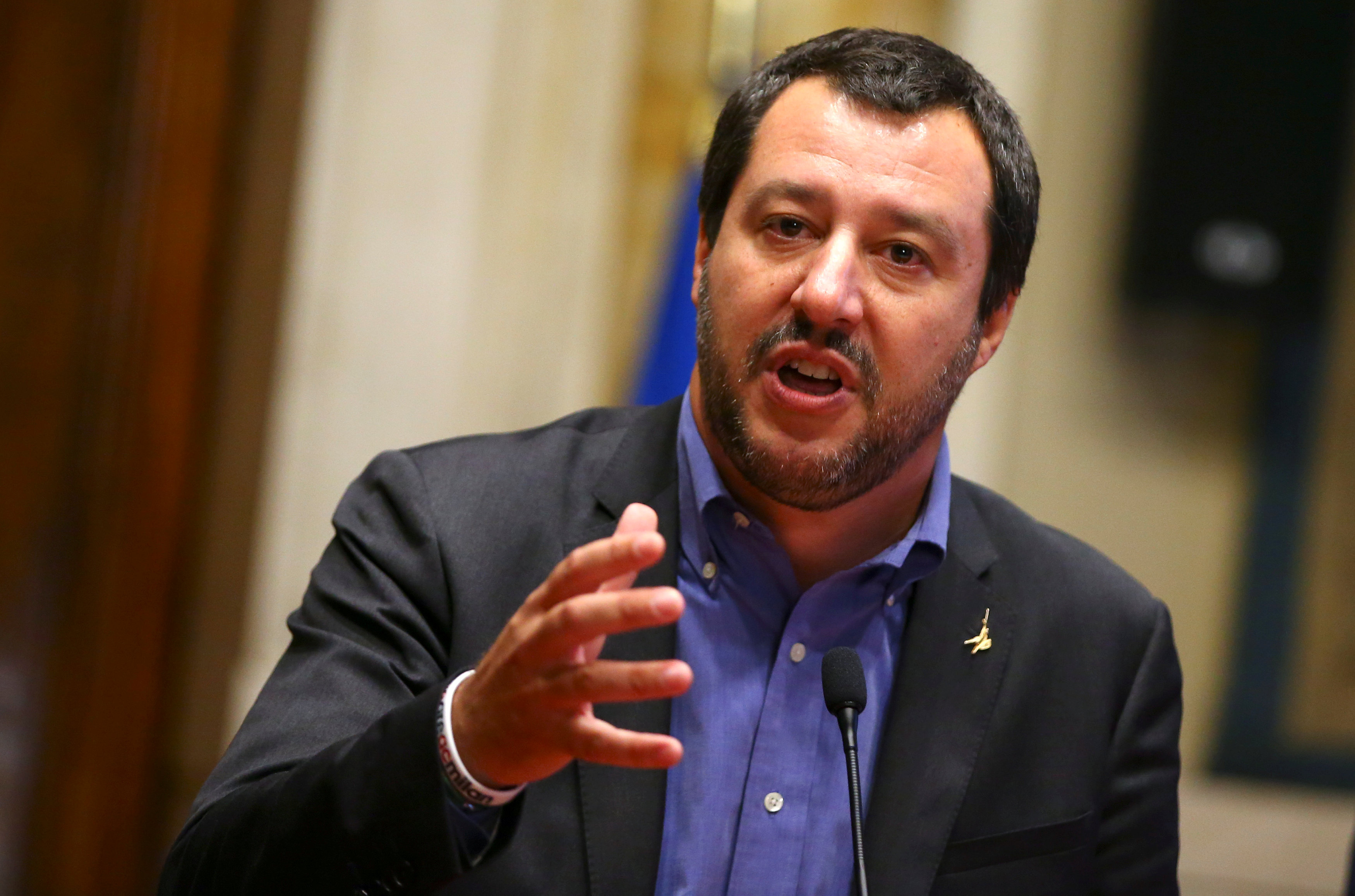 FILE PHOTO: League party leader Matteo Salvini speaks at the media after a round of consultations with Italy's newly appointed Prime Minister Giuseppe Conte at the Lower House in Rome