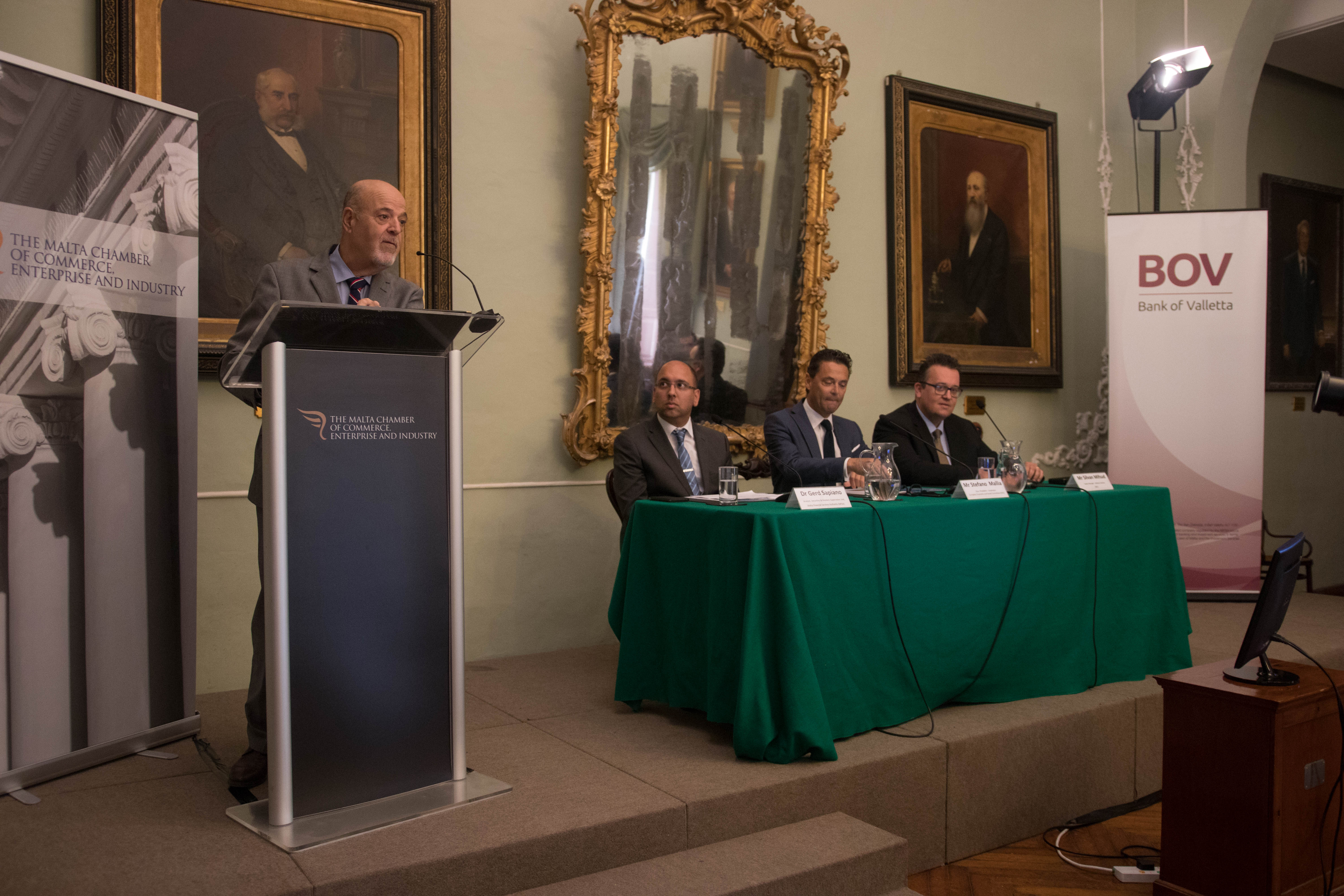 Mr Farrugia of Malta Chamber of Commerce, Enterprise and Industry, press meeting