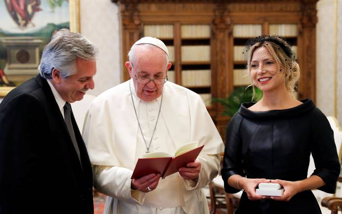 Pope Francis meets Argentina's President Alberto Fernandez during a private audience at the Vatican