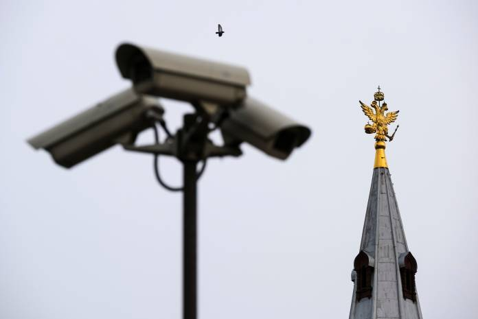 CCTV cameras are seen in central Moscow