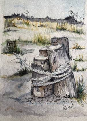 painting tree stump