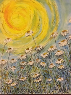 painting flowers and sun
