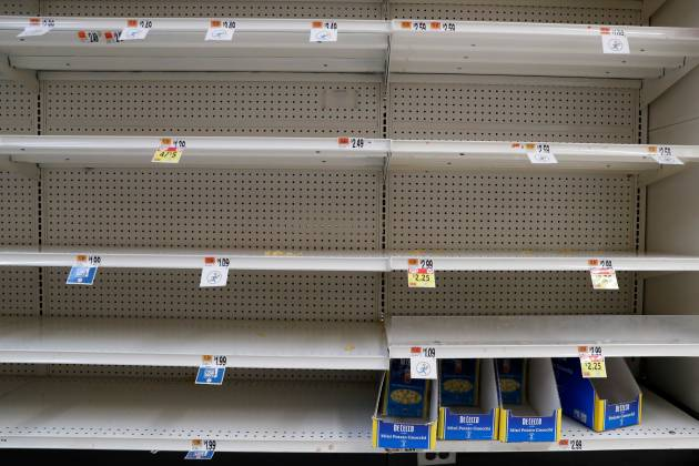 Pasta boxes sit on empty shelves, after further cases of coronavirus were confirmed in New York, at a Stop & Shop store in Port Washington, New York