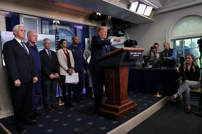 U.S. President Trump gives a press briefing on the coronavirus pandemic in Washington