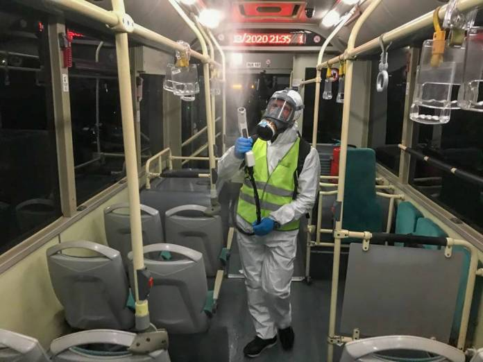 Disinfecting busses