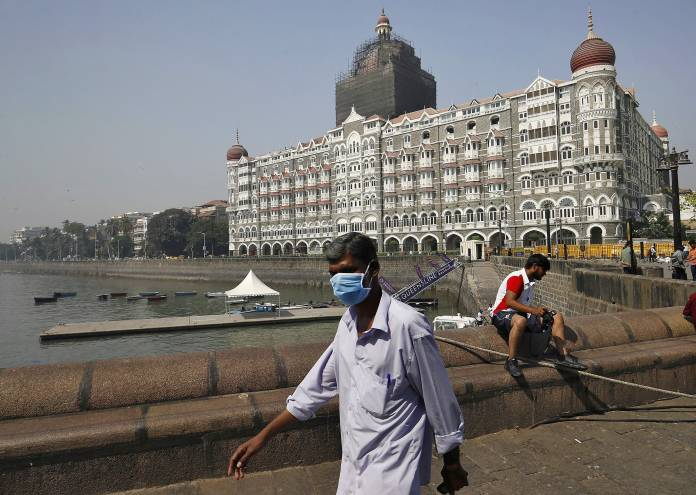 A view shows the Taj Mahal hotel after the government tightened up measures for coronavirus prevention in Mumbai