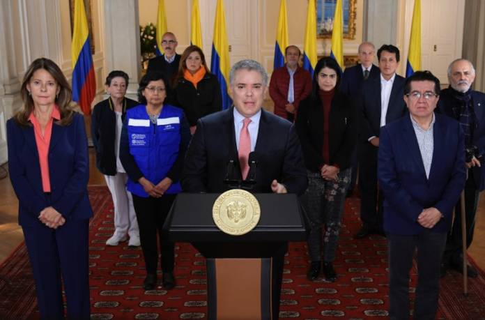 Colombia's President Ivan Duque addresses the nation in a televised speech, in which he declared a nationwide quarantine for 19 days, as a preventive measure against the spread of the coronavirus disease (COVID-19), in Bogota