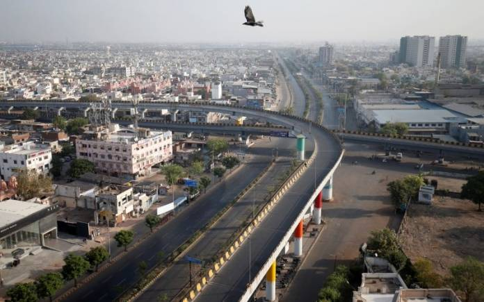 A view shows empty roads during a 14-hour long curfew to limit the spreading of coronavirus disease (COVID-19) in the country, in Ahmedabad