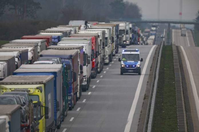 FILE PHOTO: A lorry traffic jam is seen near the German-Polish border in Frankfurt/Oder