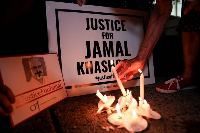 FILE PHOTO: Vigil is held at Saudi Embassy for Journalist Jamal Khashoggi