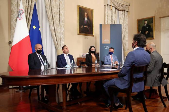 Prime Minister Robert Abela meets representatives from the Malta Entertainment Industry and Arts Association as part of the pre-budget consultations Minister José Herrera, Prime Minister Robert Abela, Julia Farrugia Portelli Clayton Bartolo Howard Keith Debono Toni Attard