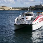 Minister Ian Borg launches a new bus transport service between the ferry landing in Marsamxett and the Grand Harbour
